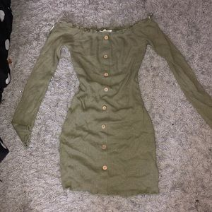 Army Green Off the Shoulder Dress